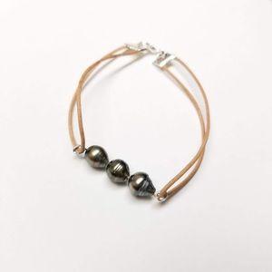 Tahitian pearl leather bracelet size 8